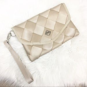 Handbags - Maggie Bags tan seatbelt clutch LIKE NEW